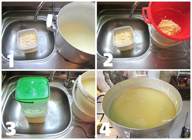 Переложить сырное зерно в ведерко с дырками фото