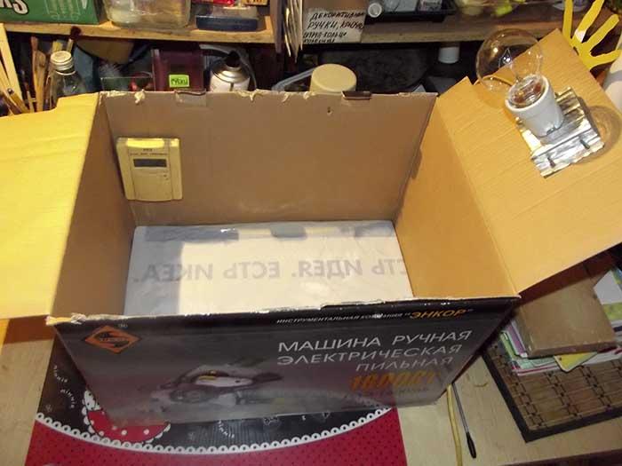 Брудер из коробки для цыплят как сделать своими руками. Дно вставлено в коробку